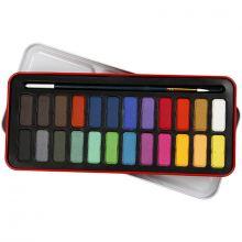 Akvarellset inkl. penslar, 24 färger