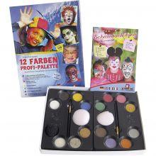 Ansiktsfärg - Palett med 12 färger och idéer