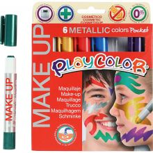 Ansiktsfärg - Make Up-pennor, Metallic, 6 st.