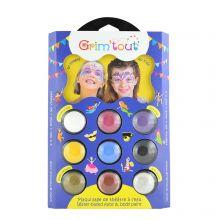 Ansiktsfärger - Enhörning, palett med 9 färger