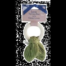 Bitring i naturgummi med muslin - Grön