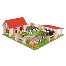 Bondgård med djur och tillbehör, 21 delar