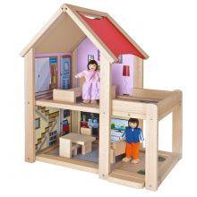 Dockhus i bok inkl. dockor och möbler