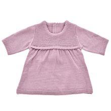 Dockkläder - Stickad klänning, plommonfärgad - Fle