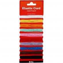 Elastiska snören, 1,2 mm tjocka - Blandade färger,