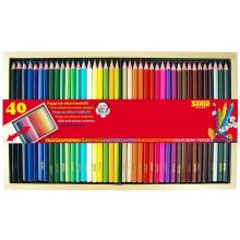 Färgpennor i trälåda, 40 st.