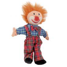 Fingerdocka - Clown med hår, 25 cm.