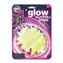 Glow - Stjärnor m. glitter, 40 delar
