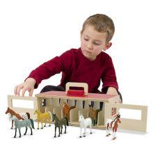Stall i trä inkl. hästar - Avlång