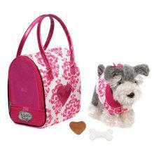 Hund i väska, rosa - Schnauzer
