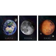 Interaktiva affischer 3-i-1 - Jorden, Månen & Mars