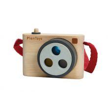 Kamera i trä med 3 färgade linser