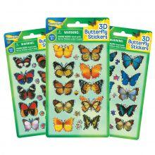 3D Klistermärken – fjärilar, 1 ark