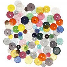 Knappar - Blandade färger, 100 st.