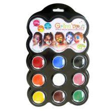 Ansiktsmålning - Palett m. 9 färger - Karneval