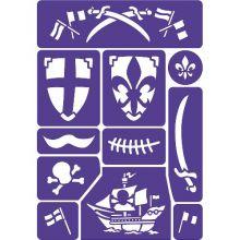 Ansiktsmålning - mall till riddare och pirater