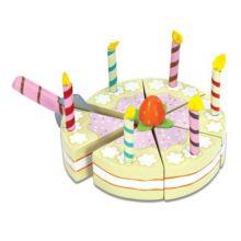 Leksaksmat - Födelsesdagstårta med ljus, trä