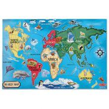 Pussel till golvet - Världskarta med djur