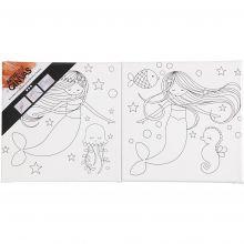 Målarstenciler med sjöjungfruer - 20 x 20 cm, 2 st