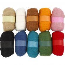 Nålfiltning - Kardad ull (blandade färger) 10 x 25