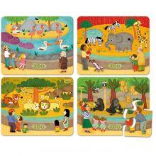 Pussel i trä - Zoo, 4 x 6 bitar
