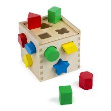 Plocklåda med geometriska klossar