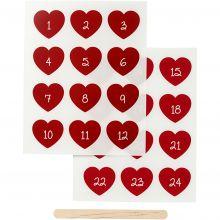 Stickers till textildekoration - Kalenderhjärtan m