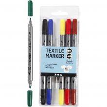 Textilpennor - Grundfärger, 6 st.