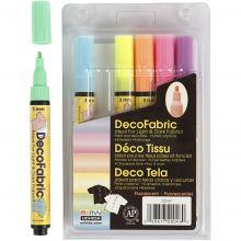 Textilpennor - Neonfärgade, 6 st.