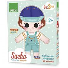 Träpussel - Klä på Sacha, 6 x 3 bitar