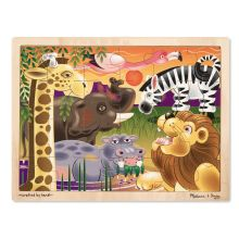 Träpussel m. 24 bitar - Afrikas djur