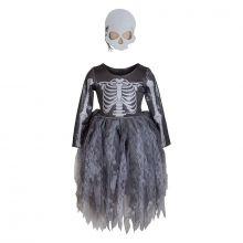 Utklädning - Skelettklänning med mask, 2-4 år