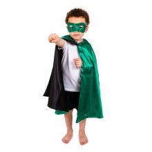 Utklädning - Vändbar mantel, grön/svart superhero