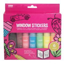 Kit för fönsterklistermärken 6 färger & mallhäfte